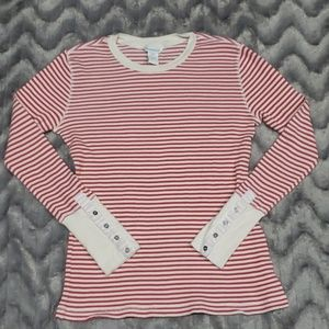 Sundance Red White Striped Thermal Top L/S  Sz M